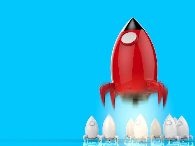 Koncepcja przywództwa z wystrzeleniem rakiety renderującej 3d