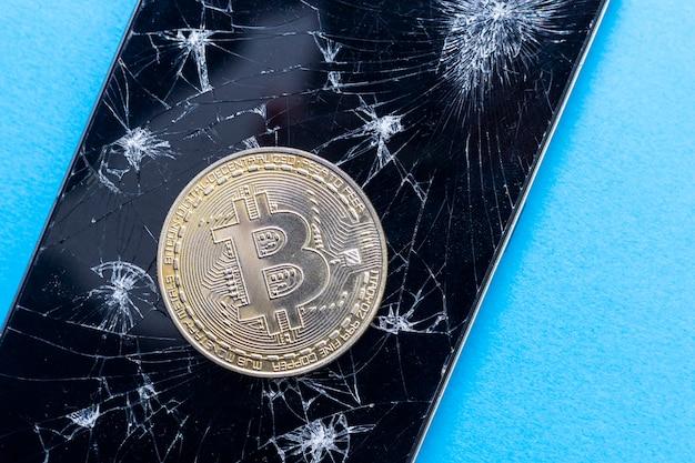 Koncepcja redukcji bitcoinów. symbol kryzysu w walucie blockchain.