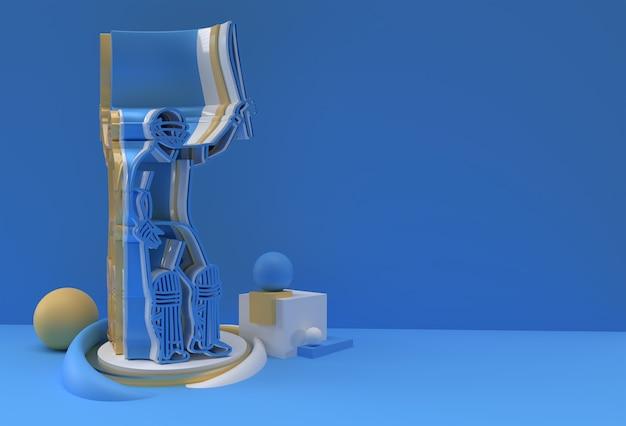 Koncepcja renderowania 3d batsmana grającego w krykieta i świętuje 100 przebiegów - scena dla display championship trophy cup, ilustracja plakatu projektu sztuki 3d.