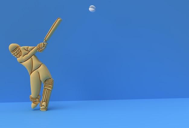 Koncepcja renderowania 3d batsmana grającego w krykieta - scena dla pucharu trofeum mistrzostw wyświetlania, ilustracja plakatu projektowania sztuki 3d.