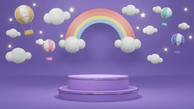 Koncepcja renderowania 3d fioletowego podium wyświetlacza z balonami w kolorze gorącym powietrzem na niebie