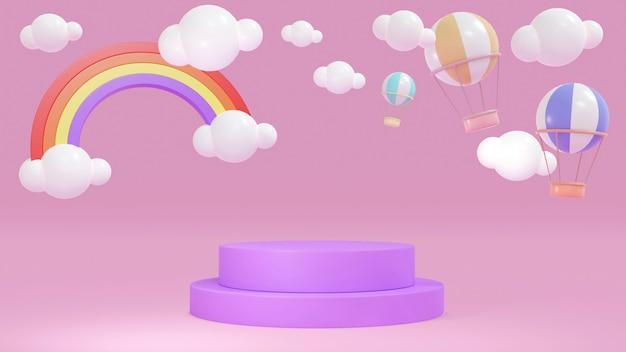 Koncepcja renderowania 3d fioletowego różowego podium wyświetlacza z balonami w kolorze gorącego powietrza na niebie
