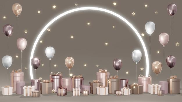 Koncepcja renderowania 3d luksusowych prezentów tła z balonowym światłem pierścieniowym i błyszczącymi gwiazdami