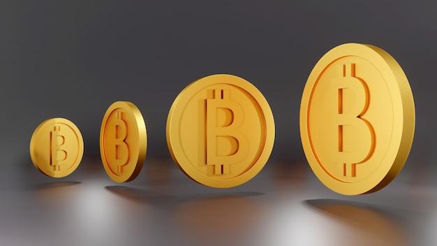 Koncepcja renderowania 3d małych i dużych złotych monet bitcoin kryptowalut
