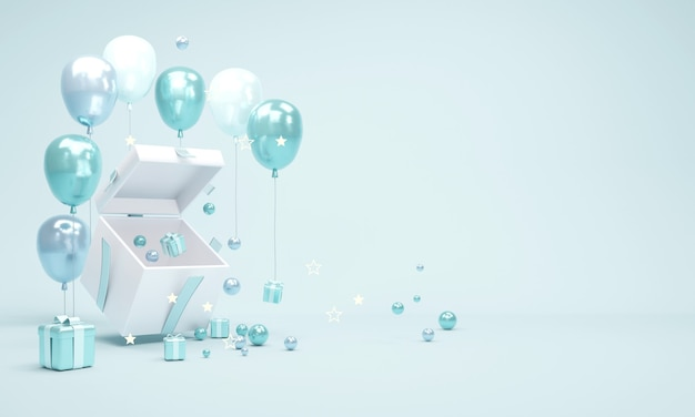 Koncepcja renderowania 3d otwartego pudełka prezentującego przestrzeń wewnątrz z drobnymi upominkami i elementami geometrycznymi skomponowanymi w niebieskim motywie do projektowania komercyjnego. ilustracja renderowania 3d.