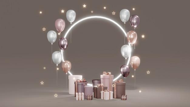 Koncepcja renderowania 3d podium do prezentacji produktu podium z prezentami, balonami, błyszczącym pierścieniem i błyszczącymi gwiazdami na tle do projektowania komercyjnego renderowanie 3d