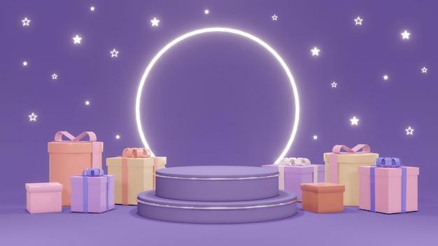 Koncepcja renderowania 3d podium do prezentacji produktu podium z prezentami błyszczącymi gwiazdami i błyszczącym pierścieniem na fioletowym tle do komercyjnego projektowania renderowanie 3d
