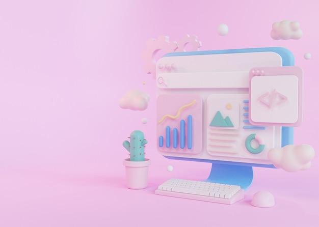 Koncepcja renderowania 3d rozwój programów komputerowych, z klawiaturą myszy i roślin kaktusów