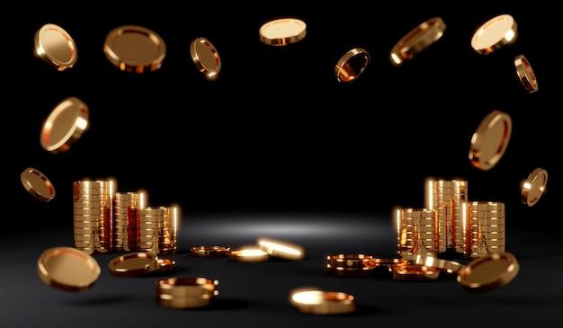 Koncepcja renderowania 3d sceny złotych monet z miejscem na tekst na czarnym tle