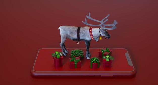 Koncepcja renderowania 3d smartphone z ozdób choinkowych