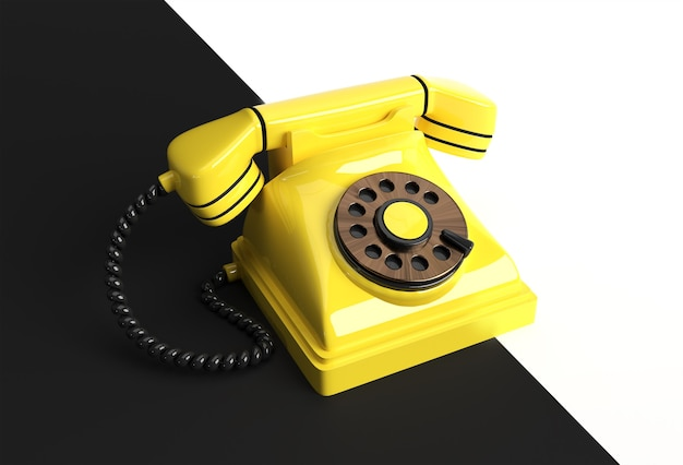 Koncepcja renderowania 3d starego telefonu ilustracja 3d sztuki projektowania.