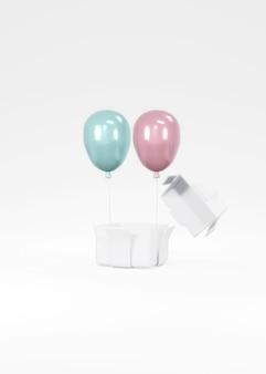 Koncepcja renderowania 3d ujawnienia płci, ślubu, banera urodzinowego. realistyczne pastelowe niebieskie różowe balony pływające z pudełko na tle. renderowania 3d. ilustracja 3d. minimalny pomysł. zaproszenie.