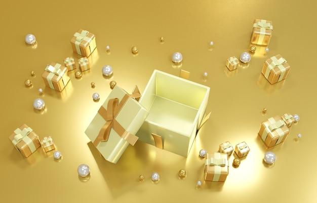 Koncepcja renderowania 3d złotego pudełka otwiera się, aby pokazać luksusowe elementy geometryczne i pustą przestrzeń wewnątrz dla komercyjnego projektu. renderowania 3d.