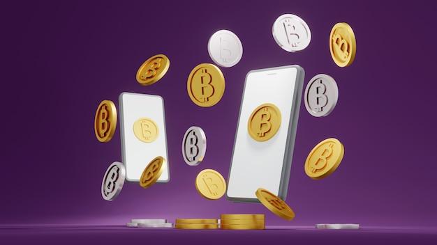 Koncepcja renderowania 3d złotych monet bitcoinowych kryptowalut i zdecentralizowanej koncepcji inteligentnego telefonu
