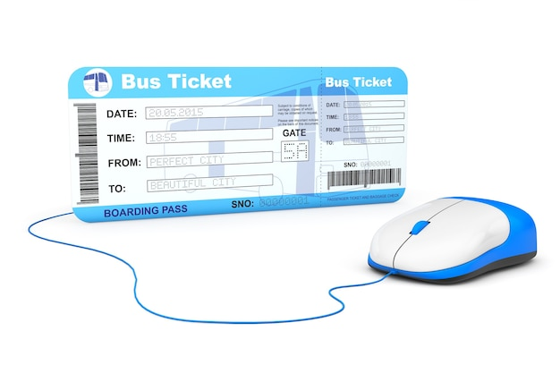Koncepcja rezerwacji online. bilet na pokład autobusu i mysz komputerowa na białym tle