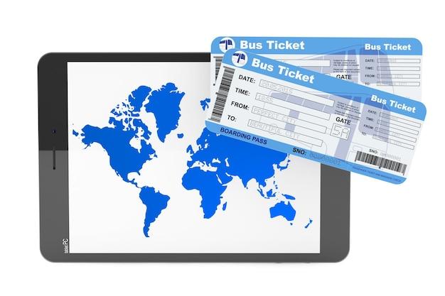 Koncepcja rezerwacji online. tablet pc z biletami autobusowymi na białym tle
