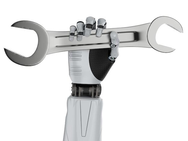 Koncepcja robota inżyniera z renderowaniem 3d robota ręka trzyma klucz na białym tle