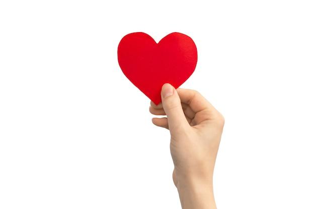 Koncepcja rodziny. ręka trzyma czerwone serce na białym tle na białym tle. skopiuj zdjęcie miejsca