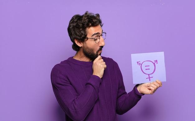 Koncepcja równości płci młody brodaty mężczyzna