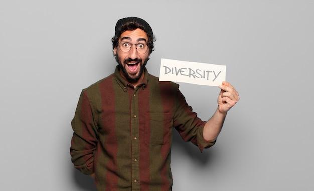 Koncepcja różnorodności młodego brodatego mężczyzny