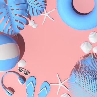 Koncepcja różowej plaży latem. akcesoria letnie, słuchawki, okulary przeciwsłoneczne, rozgwiazda, muszla, dmuchany pierścień i klapki. renderowanie 3d.