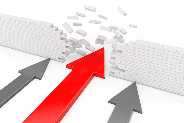 Koncepcja rozwiązania biznesowego. czerwona strzałka łamanie ściany przerwy na białym tle. renderowanie 3d