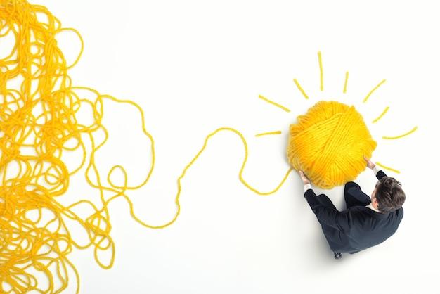 Koncepcja rozwiązania i innowacji z plątaniną przędzy wełnianej