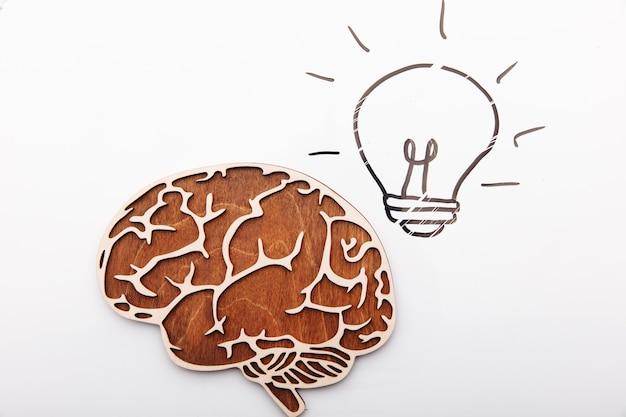 Koncepcja rozwiązania pomysł, mózg i żarówka na białym tle.