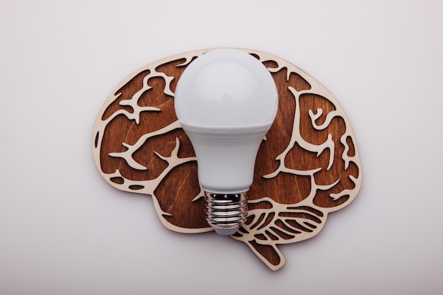 Koncepcja rozwiązania pomysłu, drewniany mózg i żarówka.