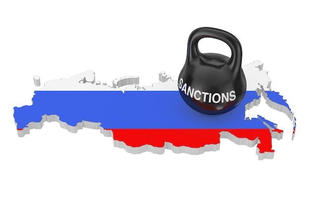 Koncepcja sankcji. black iron kettlebell z sankcjami zarejestruj się nad rosją mapa z flagą na białym tle. renderowanie 3d