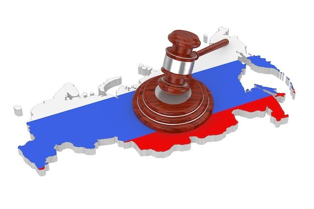 Koncepcja sankcji. drewniany młotek sprawiedliwości z pudłami nad mapą rosji z flagą na białym tle. renderowanie 3d