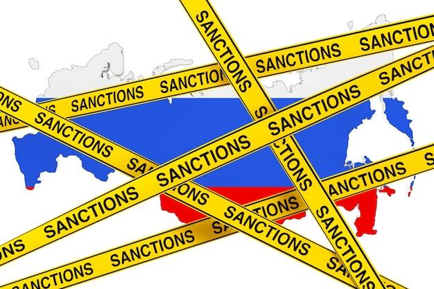 Koncepcja sankcji rosji. żółta taśma znakiem sankcji przeciwko rosji mapa z flagą na białym tle. renderowanie 3d