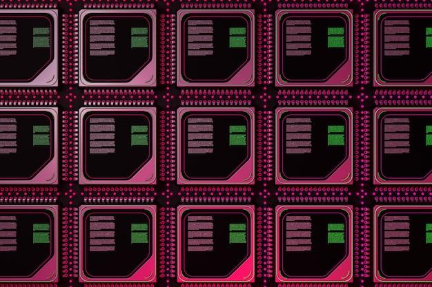 Koncepcja serwera komputerowego. wafel silikonowy z ekstremalnym zbliżeniem rzędów mikroprocesora. renderowanie 3d