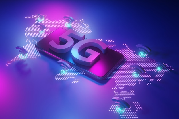 Koncepcja sieci 5g, szybki internet, technologia bezprzewodowa sieci, renderowanie 3d