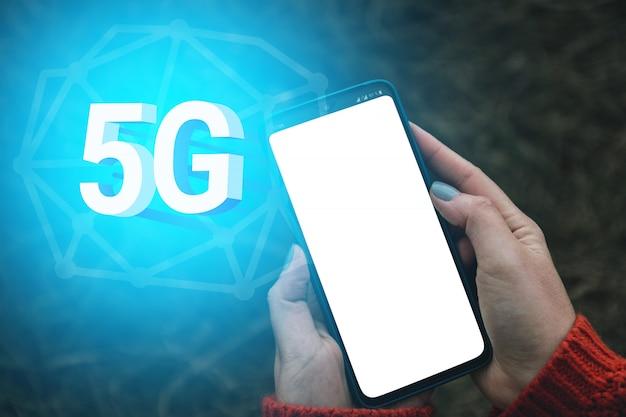 Koncepcja sieci 5g, szybkiego mobilnego internetu, sieci nowej generacji.