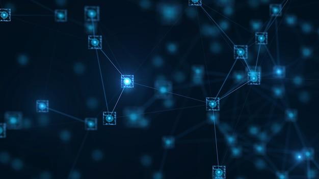 Koncepcja sieci blockchain. izometryczny bloków cyfrowych kod duży związek danych.