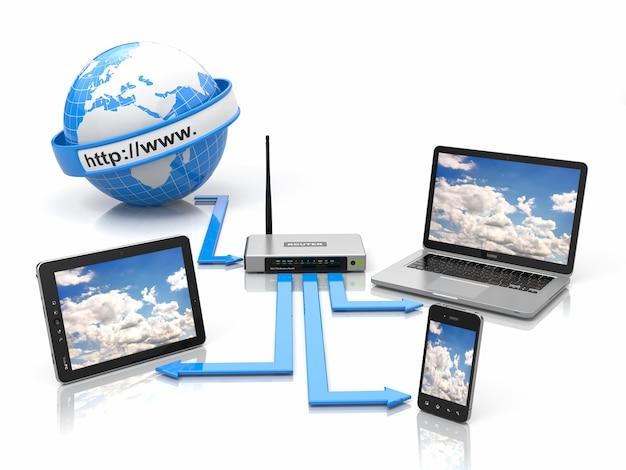 Koncepcja sieci domowej. synchronizuj urządzenia