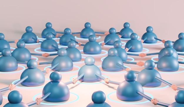 Koncepcja sieci społecznej. renderowanie 3d mieszane media