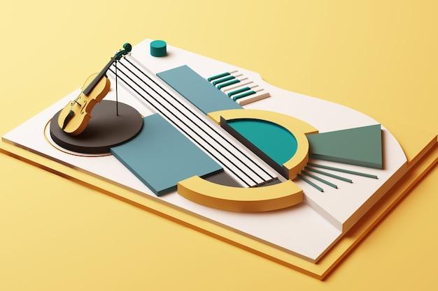 Koncepcja skrzypce i instrument muzyczny, abstrakcyjna kompozycja platform kształtów geometrycznych w odcieniu żółtym i zielonym. renderowanie 3d