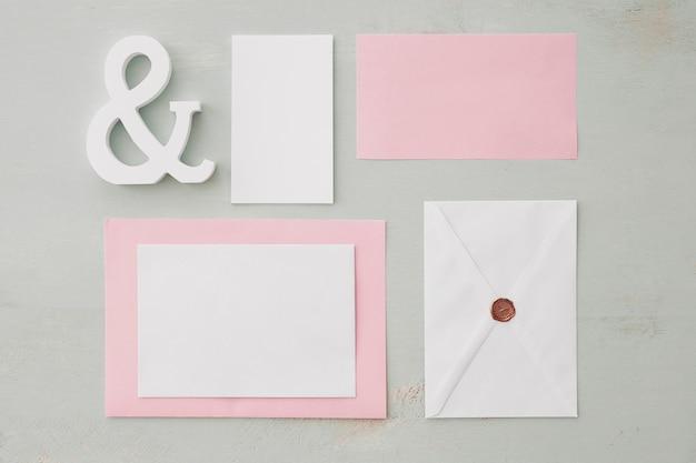 Koncepcja ślubu papeterii z ampersand