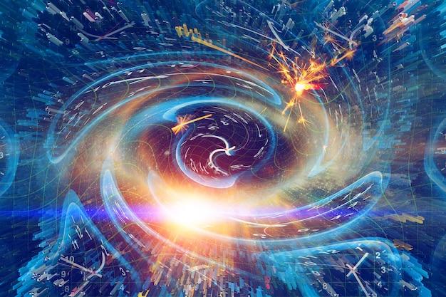 Koncepcja spacetime scifi digital arts, zniekształcenie czasu zegara twist na zakrzywionej przestrzeni zakrzywionej jako dziura reprezentuje przestrzeń i czasy teorii einsteina