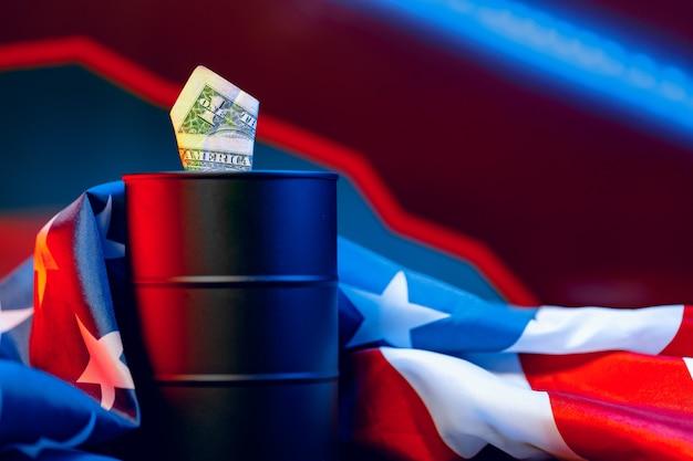 Koncepcja spadku cen ropy. beczka ropy przeciwko wykresowi spadku