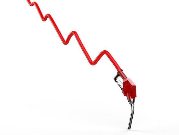 Koncepcja spadku ceny ropy naftowej z czerwonym wykresem renderowania 3d i czerwoną dyszą