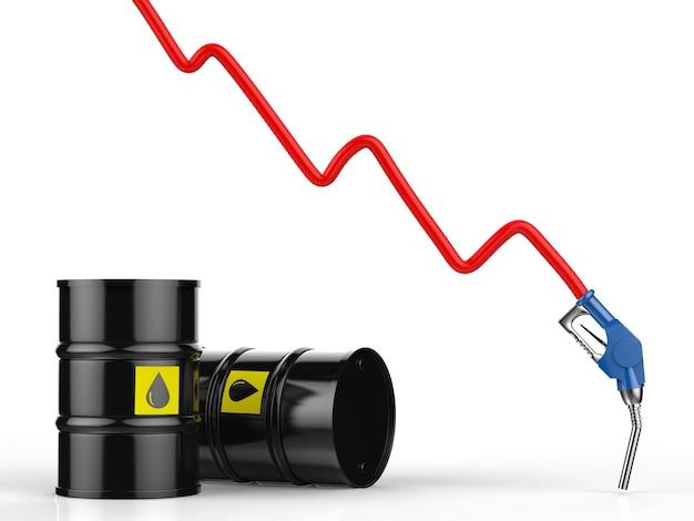 Koncepcja spadku ceny ropy naftowej z czerwonym wykresem renderowania 3d, niebieską dyszą i czarnymi beczkami