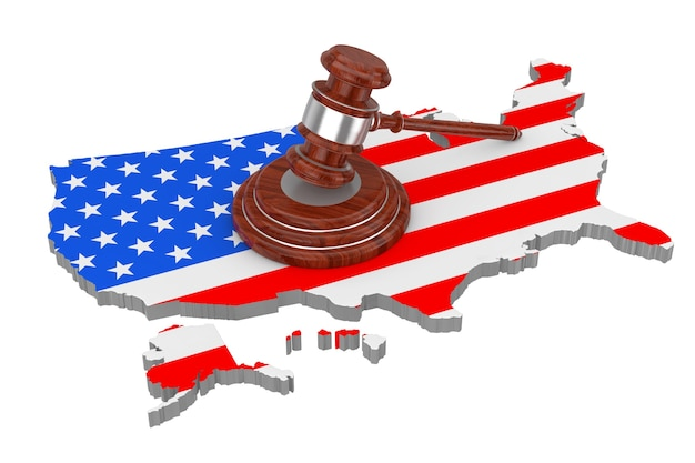 Koncepcja sprawiedliwości usa. drewniany młotek sprawiedliwości z soundboard na mapie usa z flagą na białym tle. renderowanie 3d