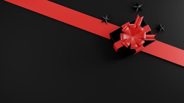 Koncepcja sprzedaży w czarny piątek pudełko na prezent zamknij pokrywę ilustracja renderowania 3d