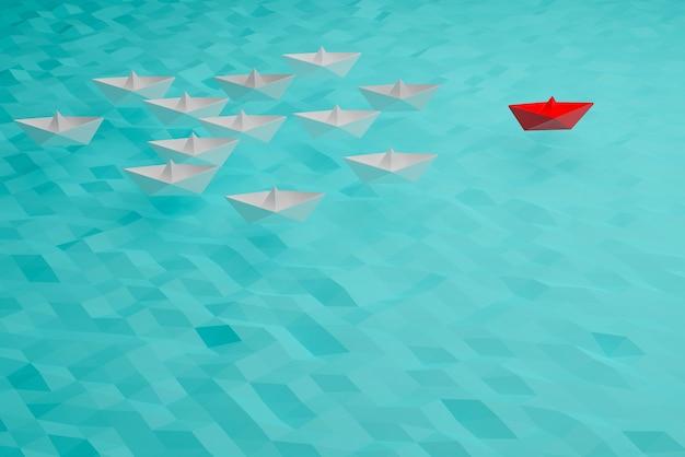 Koncepcja statku lidera, wygrana i sukces czerwonej łodzi, koncepcja sukcesu biznesowego, renderowanie ilustracji 3d
