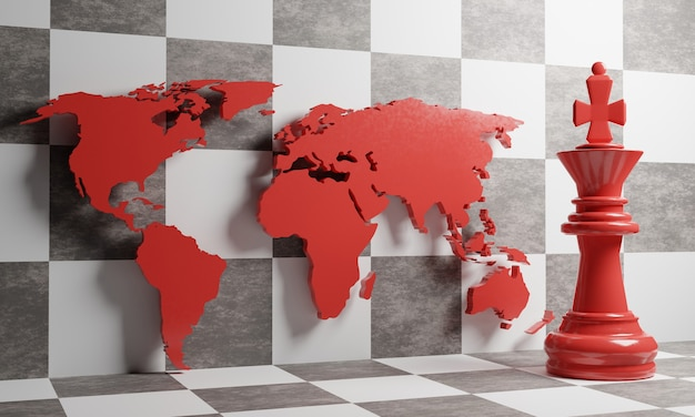 Koncepcja strategii. szachowy król i mapa świata na tle szachownicy. ilustracja 3d