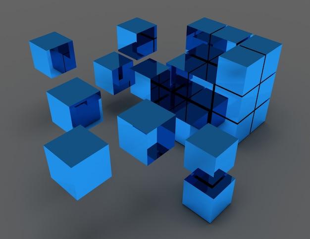 Koncepcja streszczenie kostki. 3d renderowana ilustracja