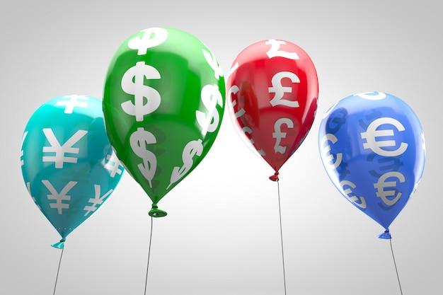 Koncepcja: światowy system finansowy. nadmuchiwane kolorowe balony z symbolami waluty.